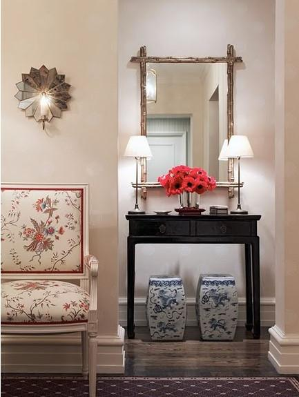 Asian Foyer Design : Blue lacquered console table transitional entrance foyer