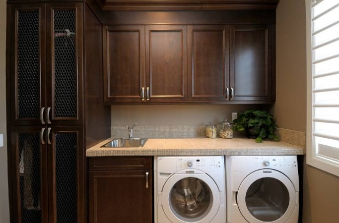 Chocolate Brown Cabinets Traditional Laundry Room