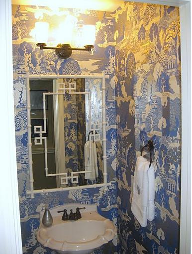Blue Chinoiserie Powder Room Design Ideas