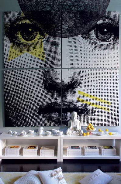 Fornasetti Wall Mural Contemporary Living Room Graham