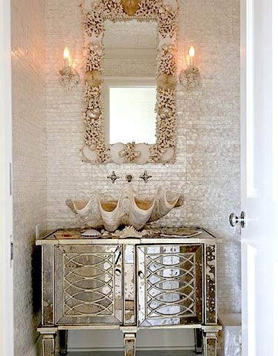 Beachy Cottage Bathroom Design With Antique Mirrored Vanity Cabinet Large Clam Sink, Mosaic Glass Tiles Backsplash And Starfish Mirror Tile W