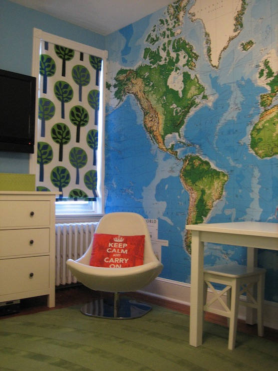 Boy S Room Map Wallpaper Custom Roman Shade Ikea Tirup Chair