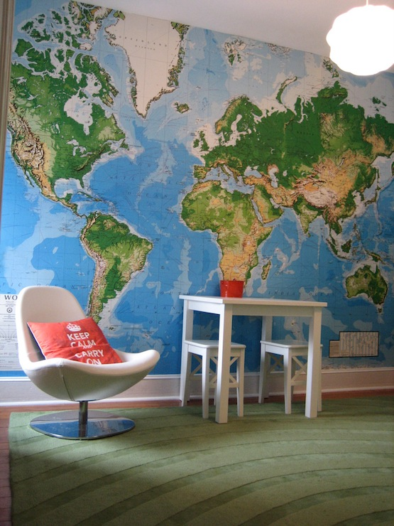 World map wallpaper contemporary boys room world map wallpaper pin it on pinterest view full size gumiabroncs Image collections