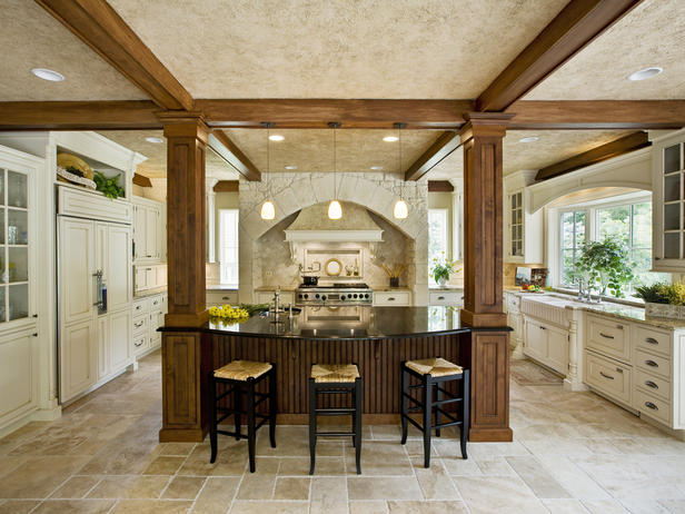 Kitchen Island With Columns kitchen wood beams design ideas