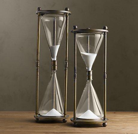 Vintage Brass Hourglass Objets D Art Restoration Hardware