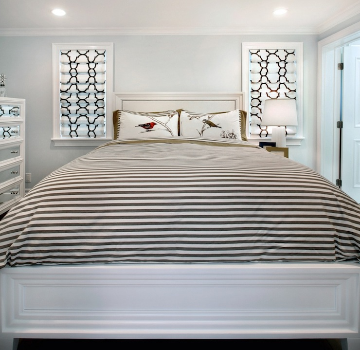 Black And White Striped Duvet Contemporary Bedroom