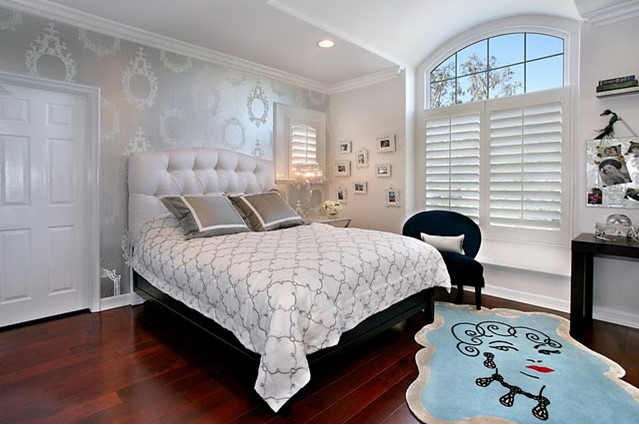 wallpaper accent wall transitional bedroom house