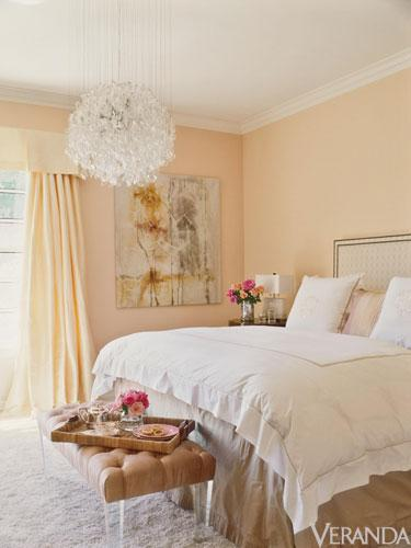 Michelle Workman Interior Design   Jennifer Lopezu0027s Home   Creamy Peachy  Bedroom Design With Soft Sherbet Walls Paint Color, Tan Linen Headboard  With ...