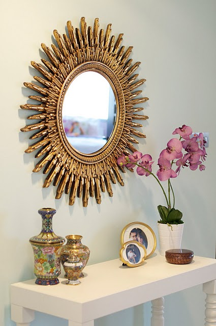 Gold Foyer Mirror : Gold sunburst mirror contemporary entrance foyer