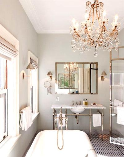Gray bathroom transitional bathroom nate berkus design for Grey silver bathroom accessories