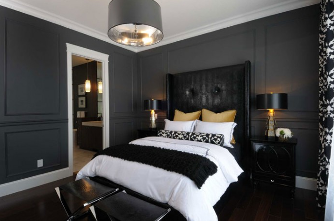 black and gray bedroom eclectic bedroom bryn alexandra interiors