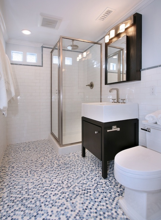 Blue penny tiles contemporary bathroom natalie umbert for Blue and black bathroom ideas