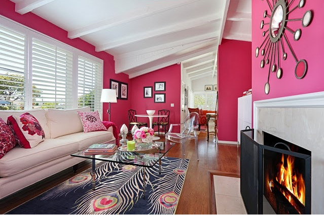 Hot Pink And Blue Fun Living Room Design With Bold Pink Fuchsia Walls Paint  Color, White Sofa, Pink U0026 Fuchsia Floral Pillows, Barcelona Cocktail Table,  ...