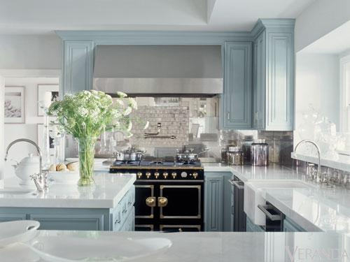 Blue gray kitchen cabinets contemporary kitchen for Grey blue white kitchen