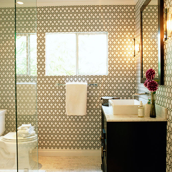 David Hicks Hex Wallpaper, Contemporary, bathroom, Kishani Perera
