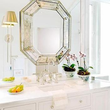 Octagon Mirror, Transitional, bathroom, Huntley & Company