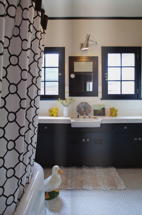 Black U0026 White Master Bedroom Design With White U0026 Black Geometric Shower  Curtain, Penny Tiles, Black Bathroom Vanity Cabinets, Subway Tiles  Backsplash And ...