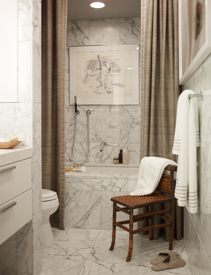 Modern Masculine Bathroom Design With White Marble Tiles Floor Backsplash  And Shower Surround, Woven Chair, Silk Taupe Shower Curtain And White Modern  ...