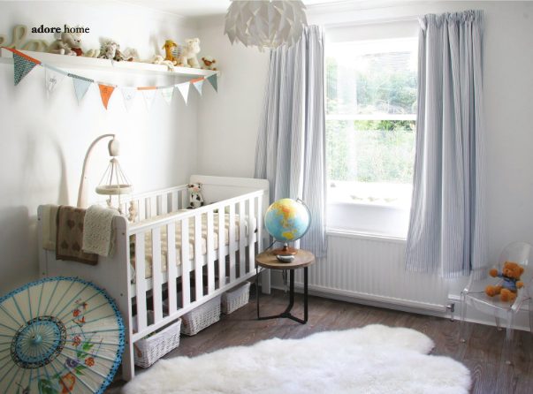 Shelf over crib eclectic nursery adore magazine for Drapes over crib