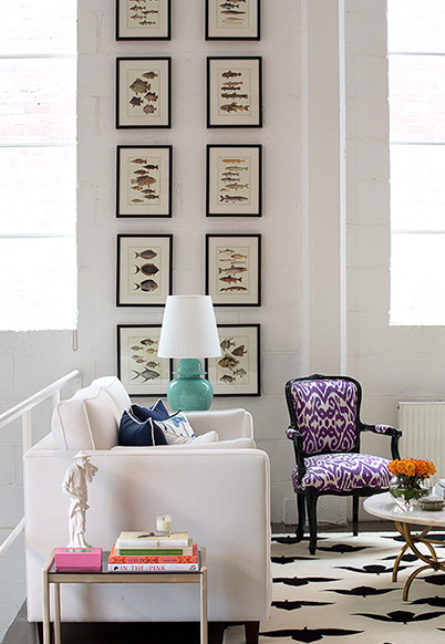 Chic City Living Room With Purple Ikat French Chair White Sofa Turquoise Blue Lamp Fish Art Gallery Madeline Weinrib Black Endless Rug