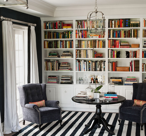 Built in bookshelves contemporary den library office for Den study design ideas