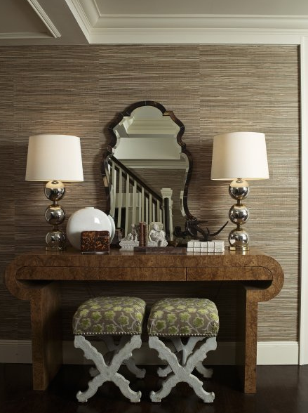 taupe grasscloth wallpaper faux tortoise shell mirror stacked ball lamps art deco console table green u0026 gray floral upholstered x ottomans with nailhead