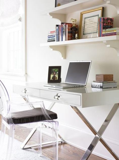 Merveilleux Modern Office Design With Phillipe Stark Louis Ghost Chair With Black  Cushion, Jonathan Adler White Channing Desk And White Shelves.