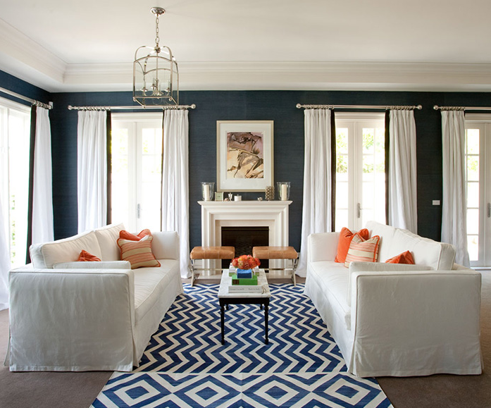 Blue Chevron Rug  Contemporary living room Diane Bergeron