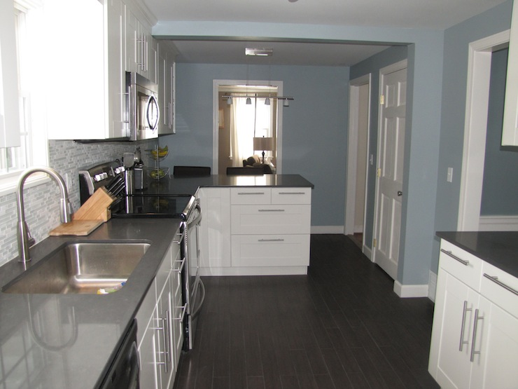 Slate Blue Paint Color Contemporary Kitchen Benjamin Moore
