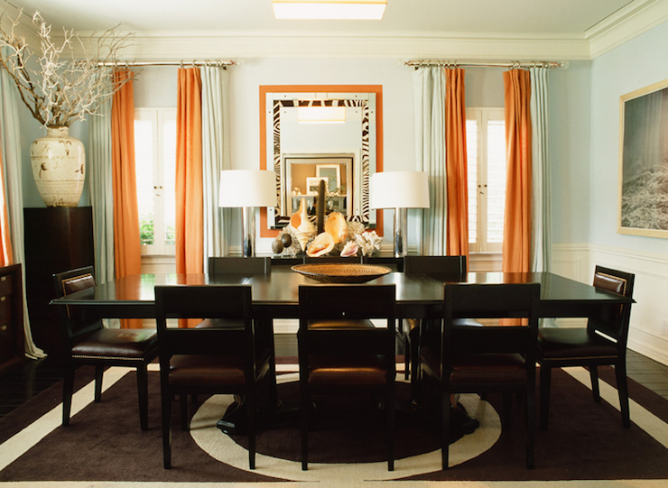 Orange Drapes - Contemporary - dining room - Mary McDonald