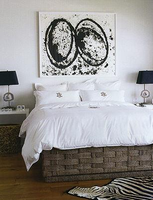 Black And White Abstract Art Transitional Bedroom