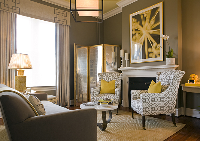 Yellow and gray living room contemporary living room for Living room yellow accents