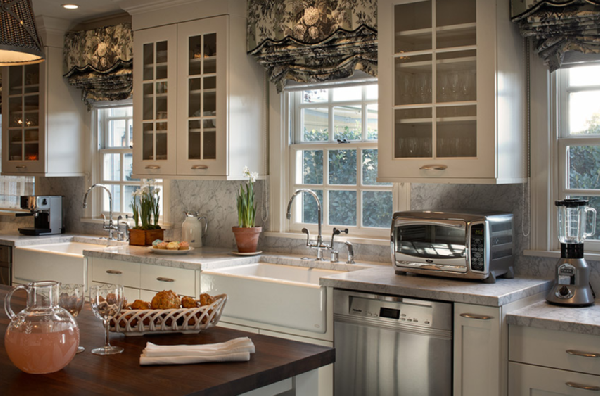 ... Marble Countertops U0026 Backsplash, Double Farmhouse Sinks, White U0026 Black  Ruffled Roman Shades, White Kitchen Island With Butcher Block Countertops  And ...