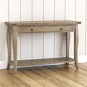 Grey Weathered Farmhouse Console Table   Tables   Cost Plus World Market