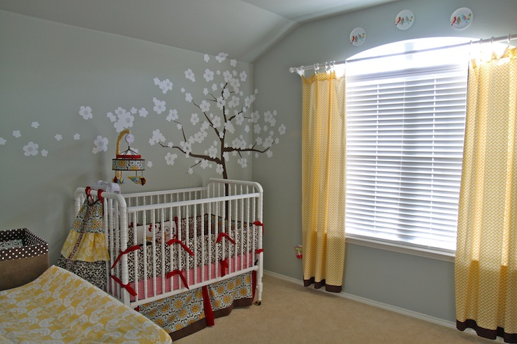 Tree wall stencil traditional nursery restoration for Drapes over crib
