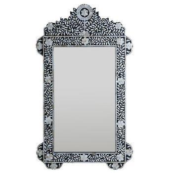 Inlaid Mother-of-Pearl Flower Mirror, Decorative Mirror, Wisteria