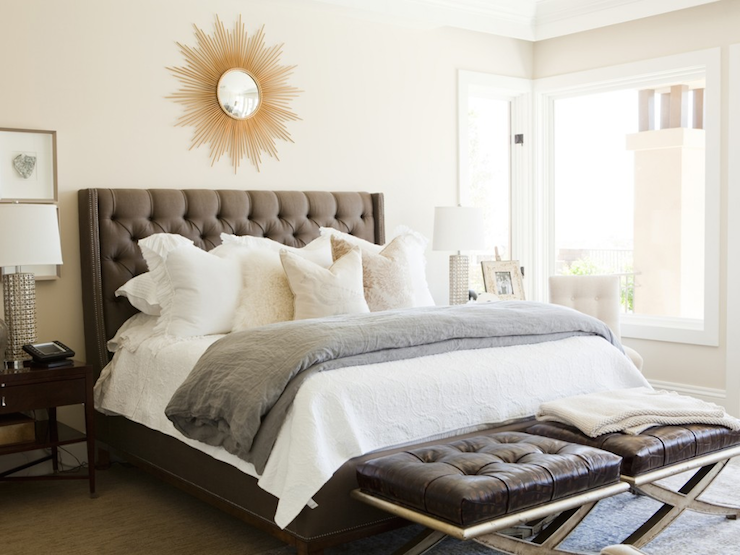 Gray Tufted Headboard Contemporary Bedroom Alice Lane Home
