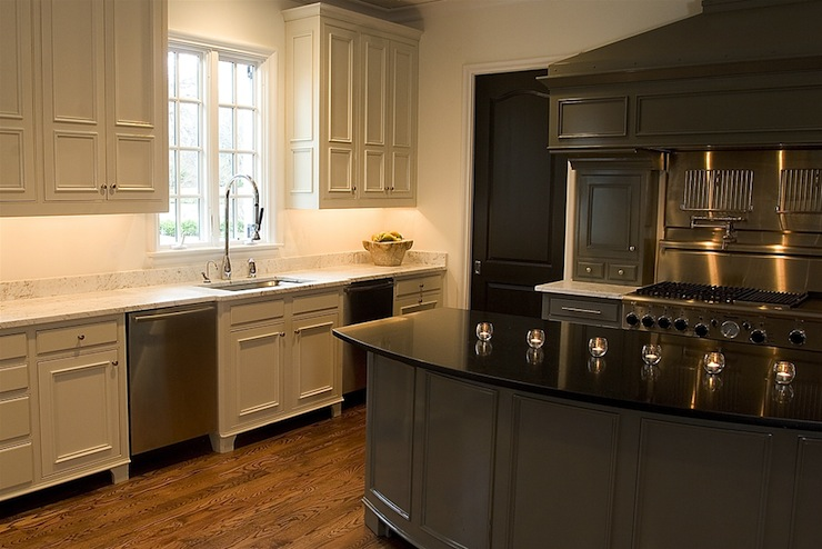 Two Tone Kitchen Transitional Kitchen Driscoll Design Group - Green kitchen cabinets with black countertops