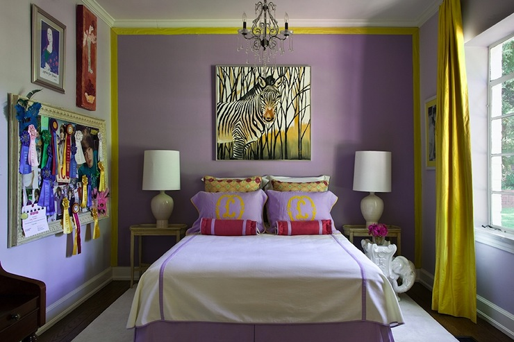 Yellow curtains contemporary girl 39 s room driscoll Purple and gold bedrooms