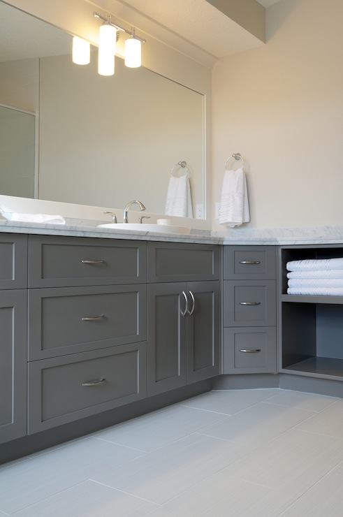 Gray bathroom vanities contemporary bathroom pratt What color to paint bathroom with gray tile