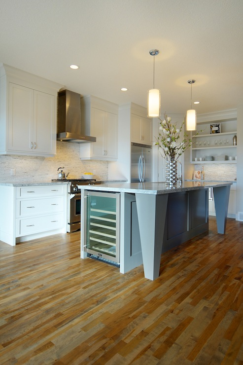 Kitchen Island Wine Fridge Contemporary Kitchen
