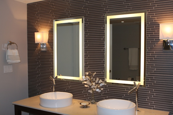 Linear Gray Glass Tile Backsplash Contemporary Bathroom Sherwin William