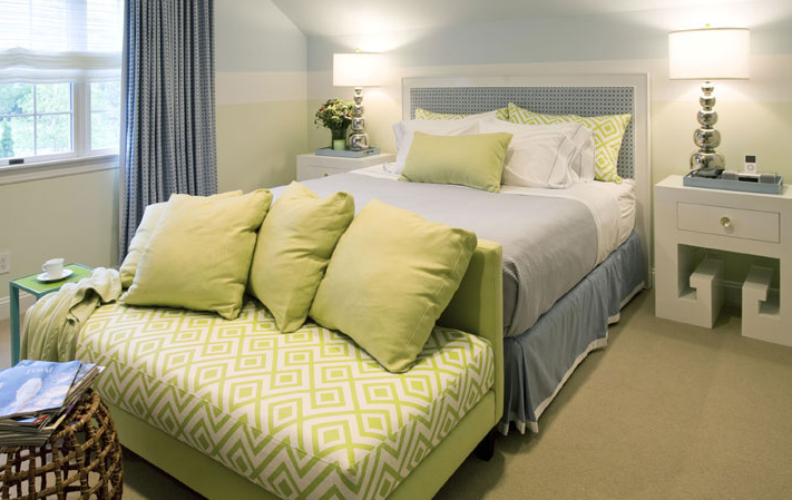 Interior Blue Green Bedroom green and blue cottage bedroom design ideas cozy chic with soft yellow walls paint color checkered uphosltered headboard white modern nightstands