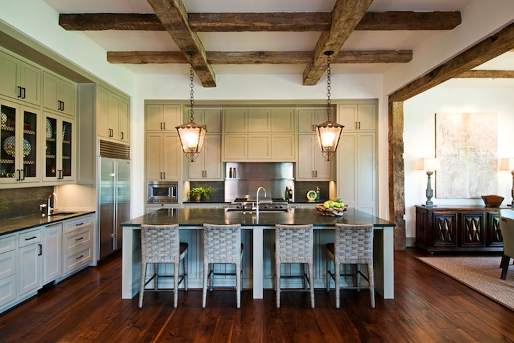 Exposed wood beams ceiling transitional kitchen for Exposed wood beam ceiling