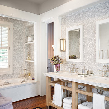 Gray Mosaic Tiles, Transitional, bathroom, Dillon Kyle Architecture