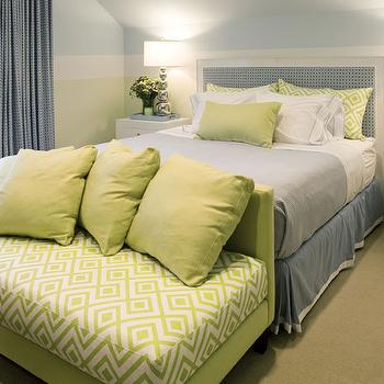 Blue and Green Bedroom, Cottage, bedroom, Willey Design