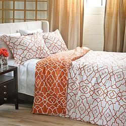 Leaf Motif Duvet Cover Shams Mandarin West Elm
