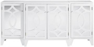 Reflections Lyre White Mirrored 4 Door Cabinet Part 45