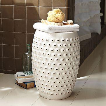 Bubbles Ceramic Side Table | west elm & Palmer White Ceramic Garden Stool islam-shia.org