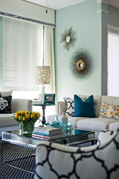 Turquoise Bleu Wall Paint Contemporary Living Room